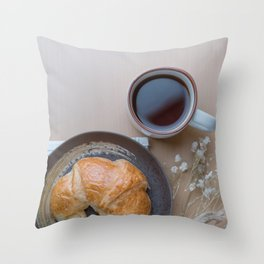 Croissant and black coffee Throw Pillow