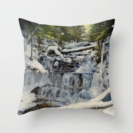 Wagner Falls Painterly Throw Pillow