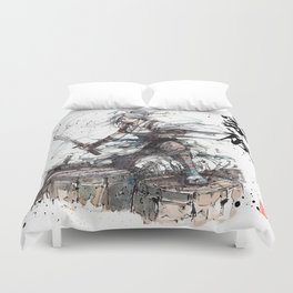 Samurai Girl with Japanese Calligraphy - Family - Ciri Parody Duvet Cover