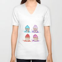 cupcakes V-neck T-shirts featuring Cupcakes  by Olive Coleman