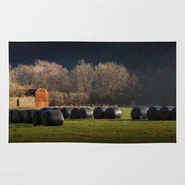 Black hay bales Rug