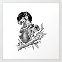 squirrel Art Prints featuring SQUIRREL by Thiago Bianchini
