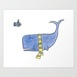 Whale in a Scarf Art Print