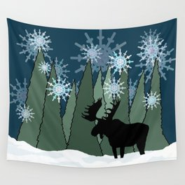 Moose in the Snowy Forest Wall Tapestry