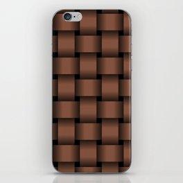 Large Dark Brown Weave iPhone Skin