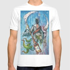 The reaper White MEDIUM Mens Fitted Tee