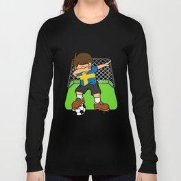 Sweden Soccer Ball Dabbing Kid Swedes Football Goal Long Sleeve T-shirt