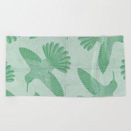 Hummingbird Pattern Beach Towel