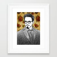 robert downey jr Framed Art Prints featuring ROBERT DOWNEY JR by FISHNONES