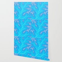 Abstract Aqua Blue Christmas Tree Branch with White Snowflakes Wallpaper