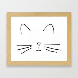 Minimalist Cat Outline Framed Art Print