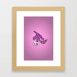 Chesire skull cat Framed Art Print