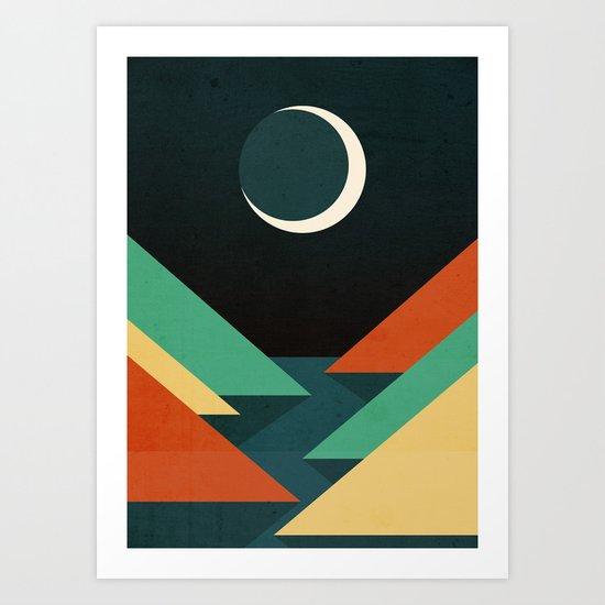 Quiet stream under crescent moon Art Print