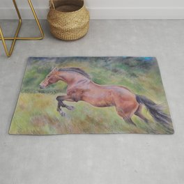 A brown horse jumping on a green meadow Pastel drawing Animal Art in the landscape Rug