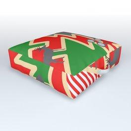 Retro deer and Christmas trees Outdoor Floor Cushion