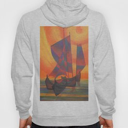 Red Sails in the Sunset Cubist Junk Abstract Hoody