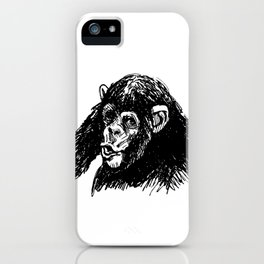 Hand sketch of a young chimpanzee iPhone Case