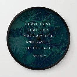 JOHN 10:10 FLORA Wall Clock