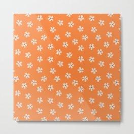 70s retro orange groovy grannie floral pattern Metal Print
