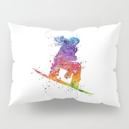 Girl Snowboarding 5 Colorful Watercolor Artwork Winter Sports Gift Pillow Sham