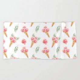 Floral Cones Pattern Beach Towel
