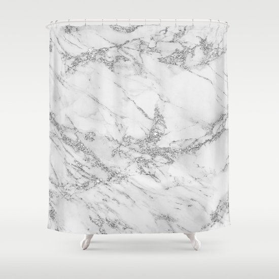 Elegant chic white gray silver glitter marble by pink_water