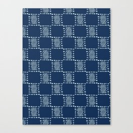 Square Motif Sashiko Style Japanese Needlework Canvas Print