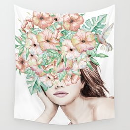 She Wore Flowers in Her Hair Island Dreams Wall Tapestry