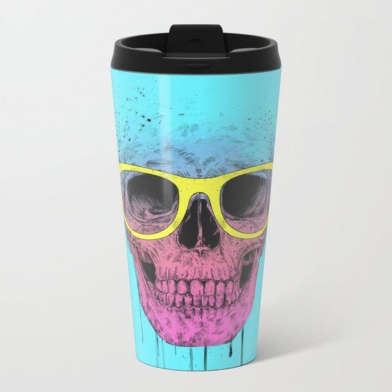 Pop art skull with glasses Metal Travel Mug
