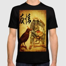 The old samurai and his faithful friendly the crow Black 2X-LARGE Mens Fitted Tee
