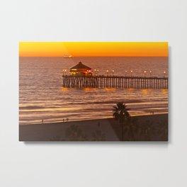 Ruby's Diner Sunset ~ Huntington Beach Pier CA  11/13/13 Metal Print