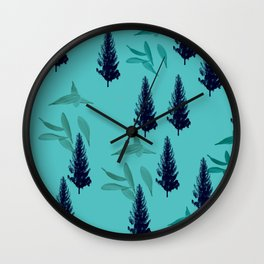 Trees & Leaves On Blue Background Wall Clock