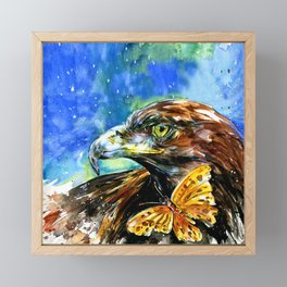 Golden Eagle And Butterfly by Kathy Morton Stanion Framed Mini Art Print