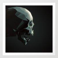 Skull roar - black Art Print