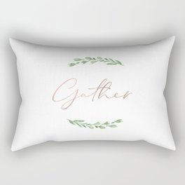 Gather in rose gold with watercolor greenery wreath Rectangular Pillow