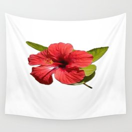 A Red Hibiscus Flower Isolated On White Background  Wall Tapestry