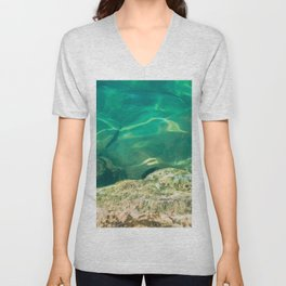 Teal Green Water, Tropical Ocean, Turquoise Sea, Paradise, Waves, Travel-photography Fine Art Print Unisex V-Neck