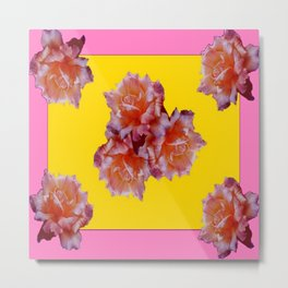 Pink & Yellow Antique Rose flowers Pattern Floral Art Metal Print