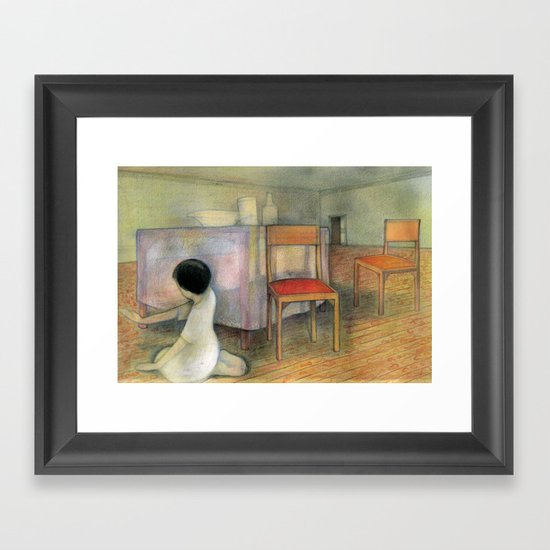 Girl in a House Dinner Room Framed Art Print