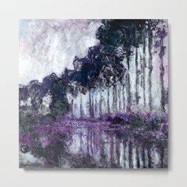 Monet : Poplars Violet Dark Blue Metal Print