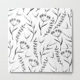 black white floral pattern ii Metal Print