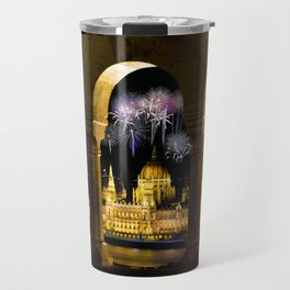 Hungarian Parliament with fireworks, Travel Mug