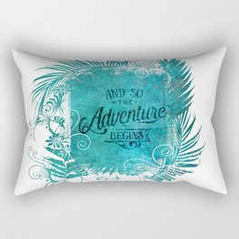 And So The Adventure Begins Motivational Typography Art Rectangular Pillow