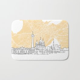 Tallinn Estonia Skyline Map Bath Mat