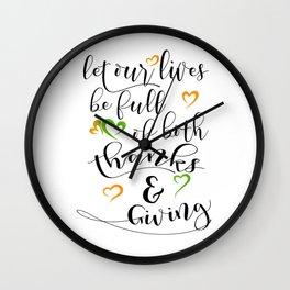 Thanksgiving idea, Thanksgiving gift, Black & White Typography art HOLIDAZE Wall Clock