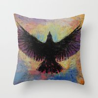 crow Throw Pillows featuring Crow by Michael Creese