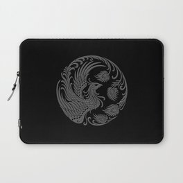 Traditional Gray and Black Chinese Phoenix Circle Laptop Sleeve