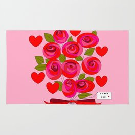 I Love You Rose Bouquet with Hearts Rug