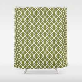 Olive Green Diamond Pattern Shower Curtain