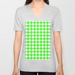 Diamonds - White and Neon Green Unisex V-Neck